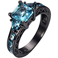 Size 5-11 Princess Cut Aquamarine Band Womens 10KT Black Gold Filled Party Ring By Wat (8)