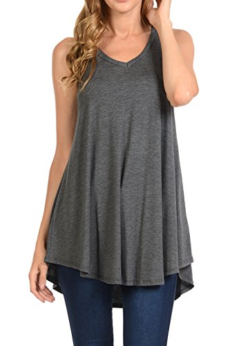 Shamaim Womens Sleeveless Flattering Comfy Tunic Loose Fit Flowy Top Charcoal X-Large