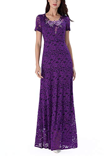 VFSHOW Womens Purple Retro Elegant Applique Floral Lace Formal Gala Evening Wedding Party Maxi A-line Dress 2822 PUP 3XL