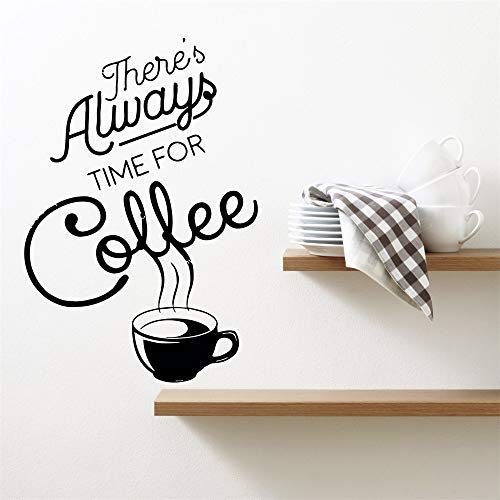 daseao Wall Art Stickers Quotes and Sayings Coffee Drink Cup Kitchen Café There is Always time for Coffee for café or Restaurants