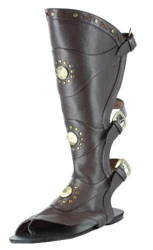 [Ellie Shoes Mens Brown Gladiator Shoes Studded Roman Costume Sandals brown Small (8/9)] (Gladiator Costumes Shoes)