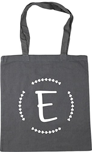 HippoWarehouse E Initial Tote Shopping Gym Beach Bag 42cm x38cm, 10 litres Graphite Grey