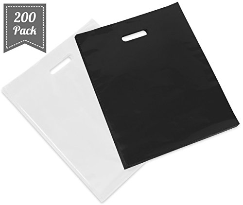 "Best-selling [ 200 Count, "" ] Extra Durable Glossy Black and White Merchandise Bags, Premium"