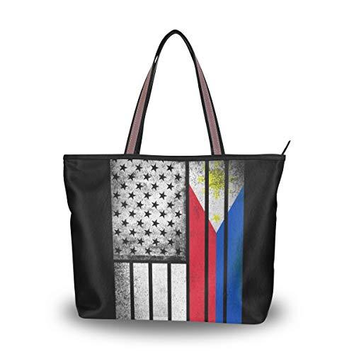 Tote Bag with Filipino Flag Print, Shoulder Bag Handbag for Travel Shopping Picnic Beach - Filipino Tote Bag