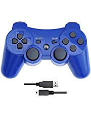 PS3 Controller with Dual-Vibration Joysticks,Wireless Game Controller Compatible with Sony Playstation 3 with Charging Cord(Blue)