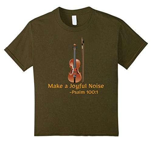 Kids Make a Joyful Noise-Psalm 100:1 Violin Fiddle Christian Tee 8 Olive
