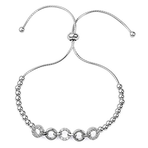 blackbox Jewelry Sterling Silver Linked O-Ring Beaded White Cubic Zirconia Adjustable Bracelet