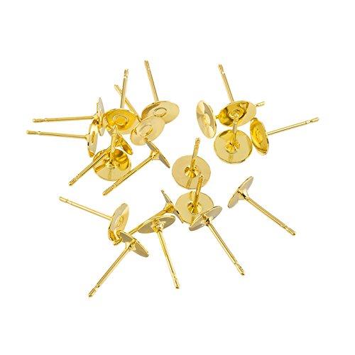 6mm Gold Plated Ear Stem Posts Flat Pad Ear Studs PK20 Beads Jar