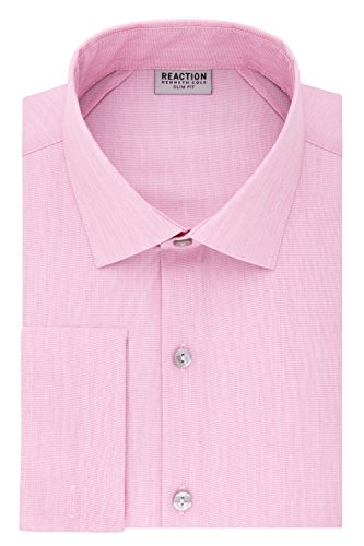 (Kenneth Cole REACTION Men's Technicole Slim Fit Stretch Solid French Cuff Dress Shirt, Pink, 18