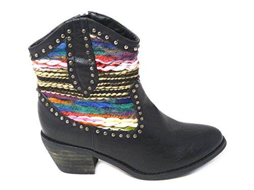 4 5 UP Chelsea 6 7 Combat Flat Biker Boots 3 Cowboy Lace Boots Worker Boots 8 SKO'S Cuban Calf Womens Biker Mid Ankle Black Ladies Zip 133601 Size Distressed Ankle Riding p8FwSa47