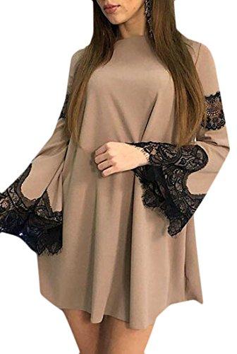 Khaki Lace Womens Fashion Dresses Flare Jaycargogo Loose Stitching Fit Casual Sleeve fvRxxwPqnO