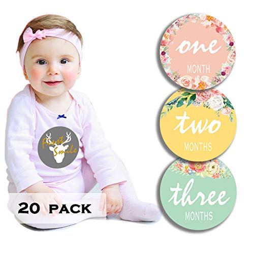 20 Pack Baby Girl Monthly Milestone Stickers Floral, 12 Months & 8 Baby Belly Achievement Stickers for First Year Scrapbook Memory Registry, Best Baby Shower Gift Set