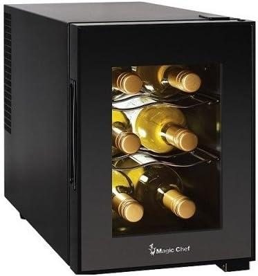 Compact 6 Bottle 2 Shelf Wine Cooler Cabinet Mini Refrigerator