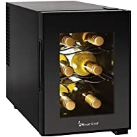 Compact 6 Bottle 2 Shelf Wine Cooler Cabinet Mini Refrigerator