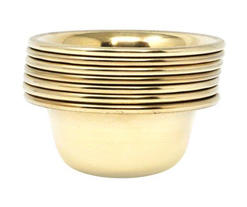 Mudra Crafts Set of 7 Copper Brass Yoga Meditation Altar Tibetan Buddhist Supplies Offering Bowls (3 Inches, Brass Tone)