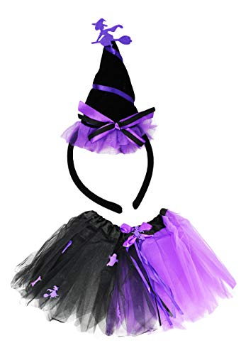 Set of Tutu Costume Set! Ice Princess, Witch, Clown, and Pumpkin Patch Fairy! Wings and Headbands! (Witch)]()