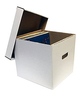"(4) 12"" 33RPM Record Album Storage Boxes with Removable Lid - Holds Up to 65 Vinyl Records VIRGIN WHITE by MAX PRO"