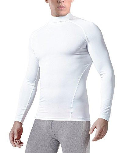 KalvonFu Men's Cotton Long Sleeve Turtleneck Athletic Compression Sport Running T Shirt (L, White) (Turtleneck Soccer)