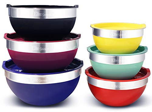 Elite Gourmet EBS-0012 Maxi-Matic 12-Piece Stainless Steel Colored Mixing Bowls with Lids, 7.25 Qt. - 6 Qt. - 3.5 Qt. - 3 Qt. - 2.25 Qt. - 2 - Crock Bowl Nesting