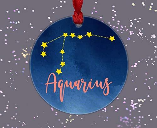OSWALDO - Adorno para Acuario, diseño de Signo del Zodiaco de la astrología Acuario, Regalo de cumpleaños, Adorno de...