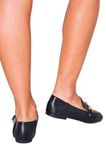 zapatos hebilla planos marca sin metálicos Mocasines mujer mocasines negros de sin q8ZEqd