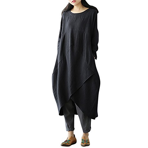 ♥ HebeTop ♥ Long Dress Women Boho Dress Casual Irregular Maxi Dresses Layered Vintage Loose Long Sleeves Linen Dress Black
