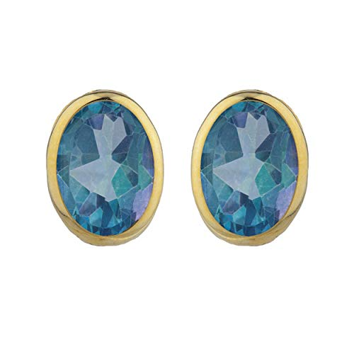Natural Blue Mystic Topaz Oval Bezel Stud Earrings 14Kt Yellow Gold Rose Gold Silver