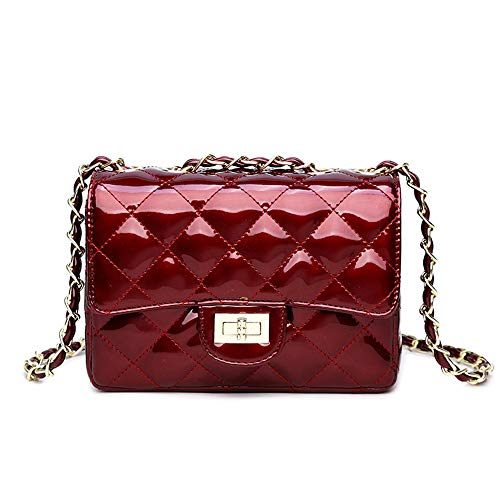 JOLLQUE Women's Quilted Crossbody Bag,Purse with Chain (Patent Leather Burgundy)