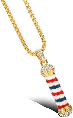 Barber Shop 3d Pendant Keychain Hair Salon Barber Pole Dog Tog Necklace Cufflinks Hair Stylist Hairdresser | Amazon.com