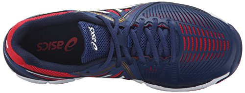 ASICS Damen Gel-Netburner Ballistic Volleyball Schuh Estate Blue / Weiß / True Red
