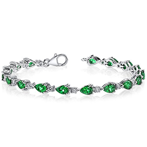 7.00 carats Pear Shape Simulated Emerald Bracelet Sterling Silver Rhodium Nickel Finish