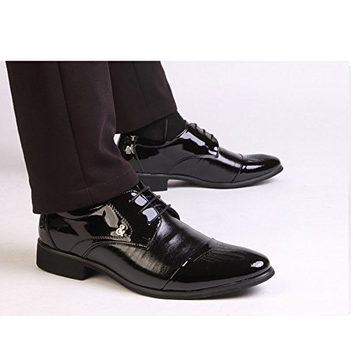 Ououvalley Lace Up Patent Leather Shoes