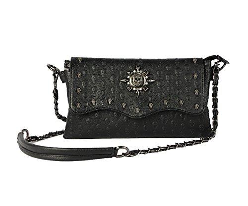 Women Leather Punk Skull Rivet Shoulder Bag Handbag - 1