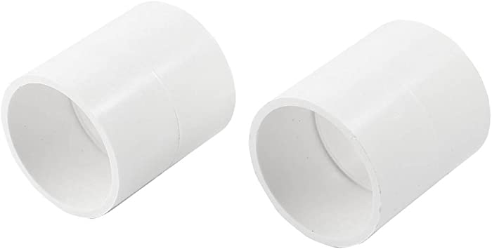 2 Pcs 50mm Inner Dia PVC Straight Pipe Connector Fitting White