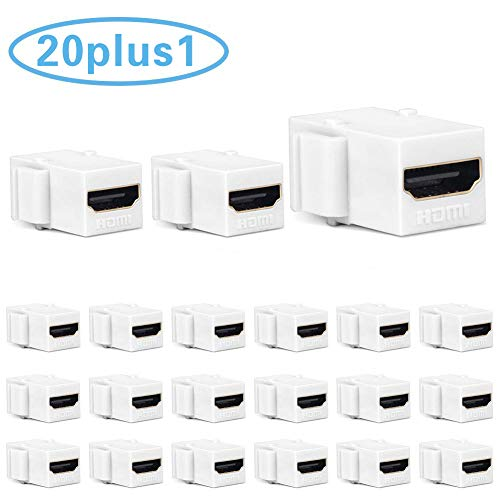 HDMI Keystone Jack 4K, PHIZLI 20 Pack HDMI Keystone Insert Female to Female Coupler Adapter (White)