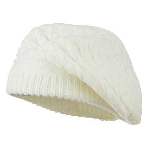 Women's Cable Knit Beret - Ivory OSFM