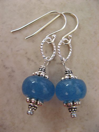 Ocean Blue Gemstone Earrings on Sterling Silver Earring Wires Boho Beach Jewelry