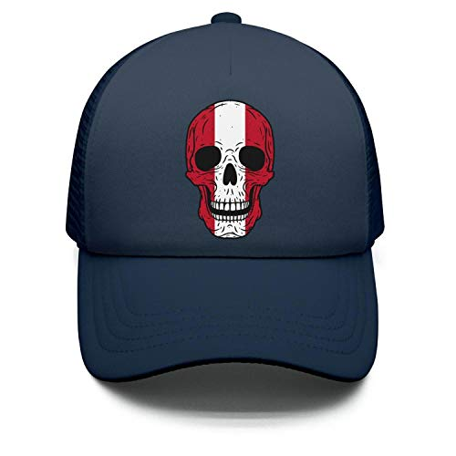 Zpnew Skull Peru Flag Stylish Funny Sun Protection Adjustable Baseball Mesh Hat Cap for Boy and Girls
