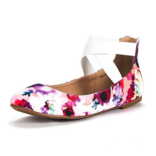 DREAM PAIRS Women's Sole_Stretchy Floral Fashion Elastic Ankle Straps Flats Shoes Size 6 M US