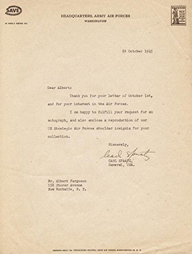 General Carl A. Spaatz Typed Letter Signed 10/29/1945