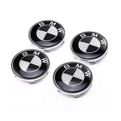 Vonluxsue Set of 4 Pieces BMW Wheel Center Caps Emblem, 68mm Carbon Fiber BMW Logo Rim Center Hub Caps for BMW All Models (Black)