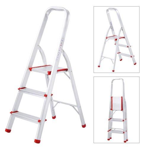NEW 3 Step Aluminum Portable Folding Ladder Platform Stool Non-Slip 330 lbs Capacity
