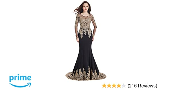 e222928f3a4 Amazon.com  MisShow Crystals Beaded Lace Mermaid Evening Dress for Women  Formal  Clothing