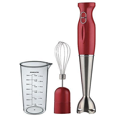 Ovente Multi-Purpose Immersion Hand Blender Set – 300-Watts, 2-Speed – Stainless Steel Blades and Detachable Shaft – Includes Egg Whisk and BPA-Free Beaker (24 oz) – Red (HS583R) by Ovente