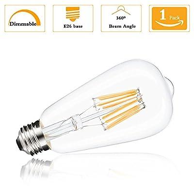 (Pack of 1) ST64 Vintage Edison LED Bulb,Dimmable 8 Watt Antique LED Bulb Squirrel Cage Filament Light for Decorate Home, 80 Watt Equivalent, E26 Medium Base 2200K Warm White 120 Volt 550Lumens