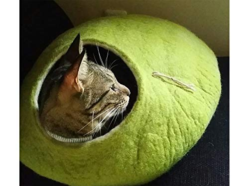 Cat Bed, House, Cave, Nap Cocoon, Igloo, 100% Handmade from sheep wool , Kivikis Size – Large, 6-8 kg (13-16 pounds) cat…
