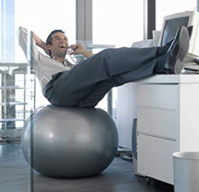 Exercise Ball Chair From CalCore, Professional Strength Antiburst Ball with Hand Pump for Office, Yoga, Stability and Fitness