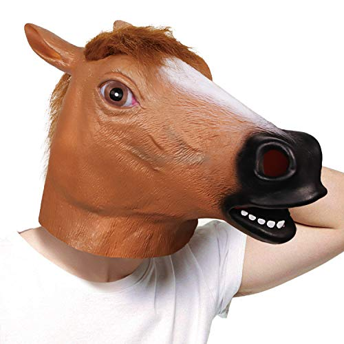 molezu Brown Horse Mask, Creepy Horse Head Mask, Rubber Latex Animal Mask, Novelty Halloween Costumes BoJack Horseman Mask]()