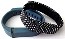 Large 1 Slate (Blue/Grey) 1 Black with White Dots Spots Band for Fitbit FLEX Only With Clasps Replacement /No tracker/