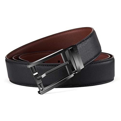 Belt for Men, Bestkee Men's Leather Belt Reversible and Adjustable, Genuine Leather Mens Dress Belt with Rotated Buckle